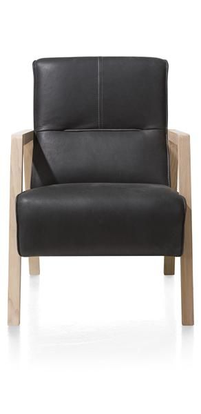 Bueno, fauteuil met houten arm vintage clay / white / black